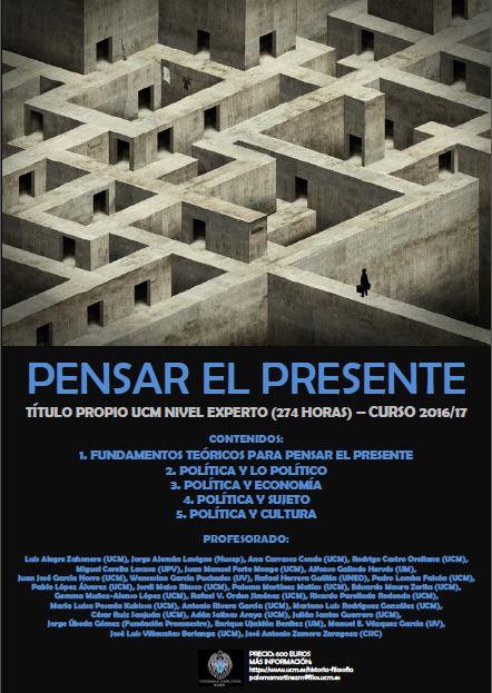 Imagen Cartel Pensar el Presente 2016-17